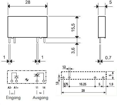 34.81.7.005.8240 Finder Steck//Print Relais SSR Optokoppler E=5V DC A=230V AC 2AK
